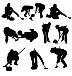 Curling silhouette set vector