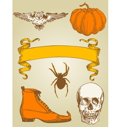 Set of vintage hand drawn halloween objects vector