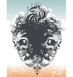 Wicked skull flourish illustration vector