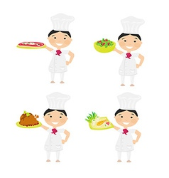 Cheerful chef serving dishes - set vector