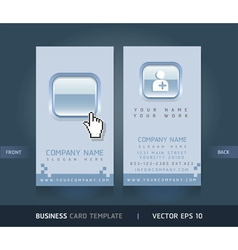 Business card blue buttons style vector