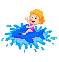 Girl cartoon playing with swimming toy vector