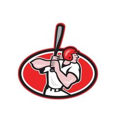 Baseball player batting cartoon oval vector