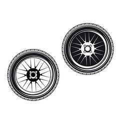 Car wheels and tyres vector