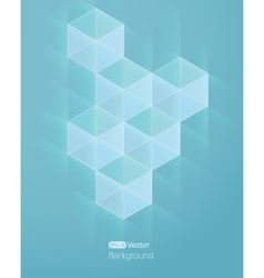 Abstract light blue beckground with cube vector