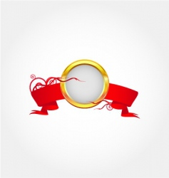 Gold frame with red ribbon vector