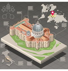 Isometric infographic of saint peter of vatican vector