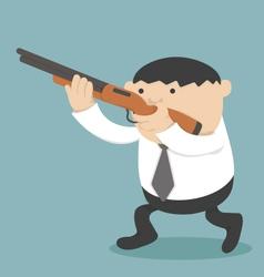 Obese businessman holding a gun vector