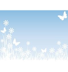 Grass flowers and butterflies vector