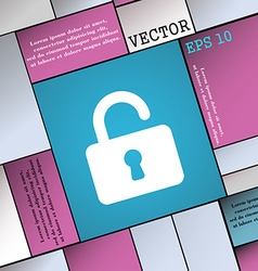 Open padlock icon sign modern flat style for your vector
