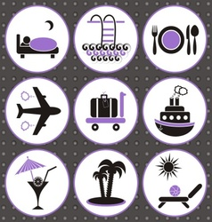 Travelling and accommodation icons vector