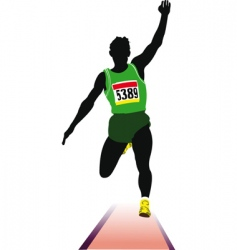 Long jump sportsman vector