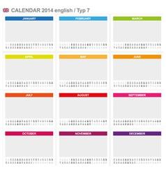 Calendar 2014 english type 7 vector