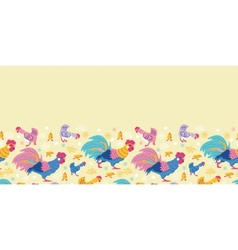 Fun chickens horizontal seamless pattern vector