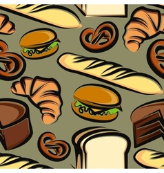 Food background with baking items seamless pattern vector