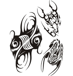 Zodiac signs - fish and scorpion set vector