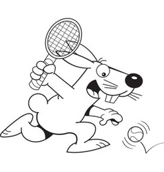 Cartoon rabbit playing tennis vector