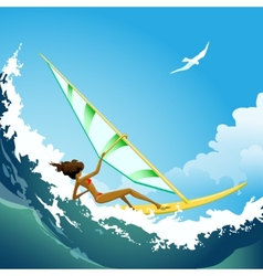 Wind surfer girl on the wave vector