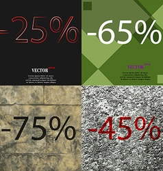 65 75 45 icon set of percent discount on abstract vector