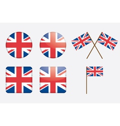 Badges with united kingdom flag vector