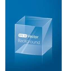 Abstract dark blue background with glass cube vector