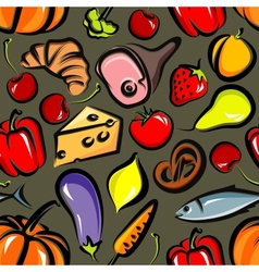 Food background with vegetables fruit meat fish vector