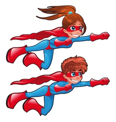 Young superheroes vector