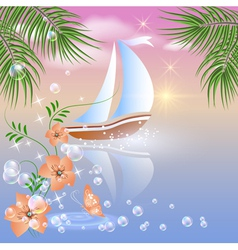 Sailboat floats on the sea vector