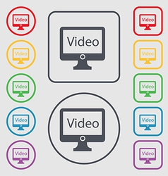 Play video sign icon player navigation symbol set vector