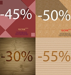 50 30 55 icon set of percent discount on abstract vector