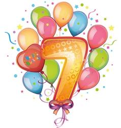 Happy birthday seven vector