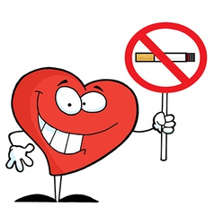 Heart holding up a no smoking sign vector
