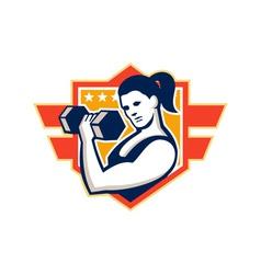Woman lifting lifting dumbbell retro vector