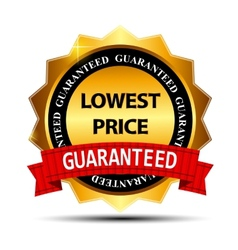 Lowest price guarantee gold label sign template vector