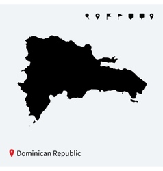 High detailed map of dominican republic with pins vector