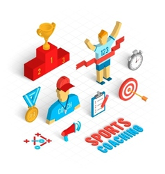 Sport coaching isometric set vector