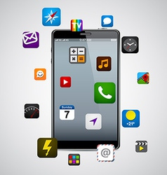 Modern smartphone with apps vector