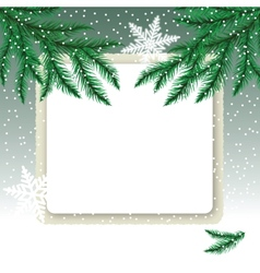 Frame on the snowdrift and fir tree branches vector