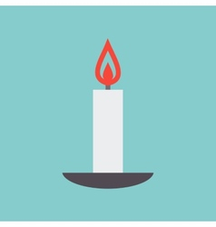 Candle on a plate vector