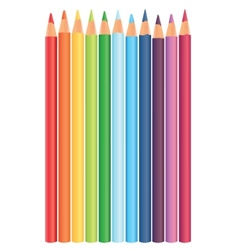 Multicolored rainbow pencils in a raw vector