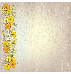 Abstract grunge grey background with spring yellow vector