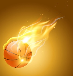 Burning basketball background vector