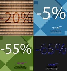 5 55 65 icon set of percent discount on abstract vector