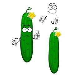 Cartoon crunchy cucumber vegetable character vector