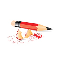 Red pencil with sharpener trash vector