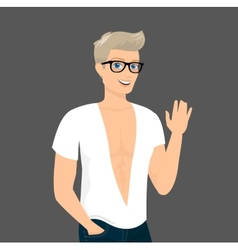 Handsome blond guy close-up vector