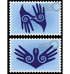 Hands post stamp vector