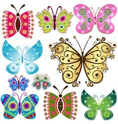 Set fantasy colorful vintage butterflies vector