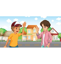 Two boys meeting across the big houses at the road vector