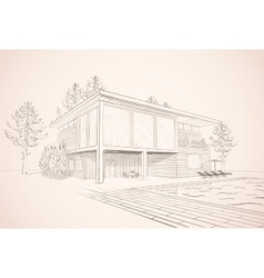Sepia sketch of house with swimming pool vector